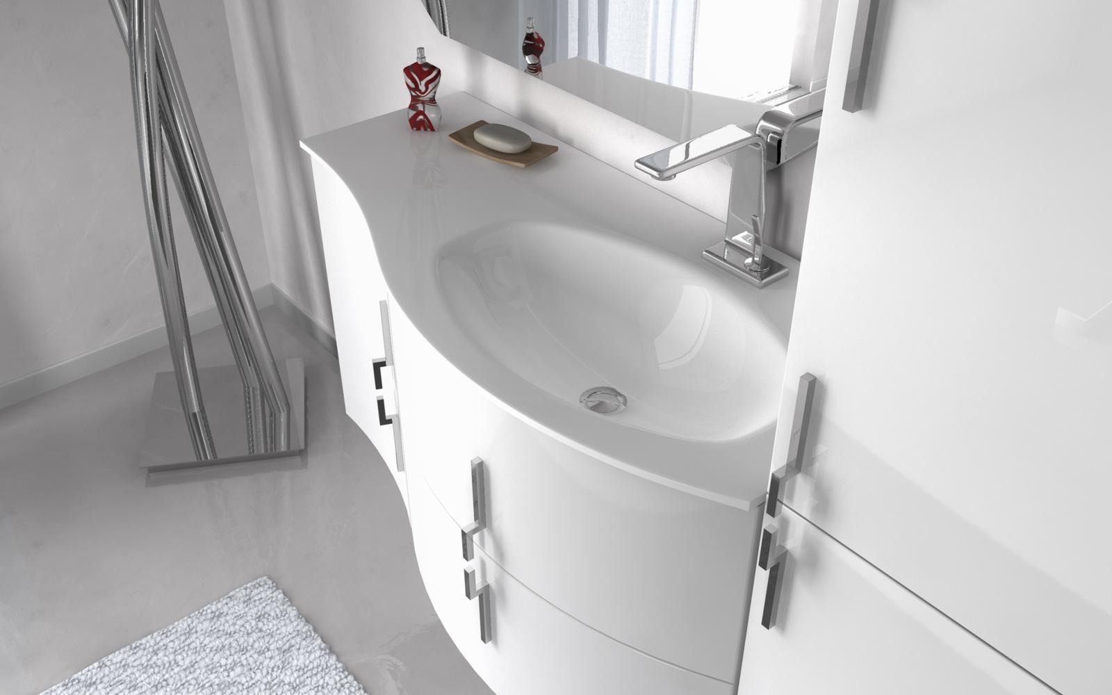 mobile bagno sting 4 colori 104cm arredo moderno curvo sospeso ... - Ebay Mobili Bagno Sospesi