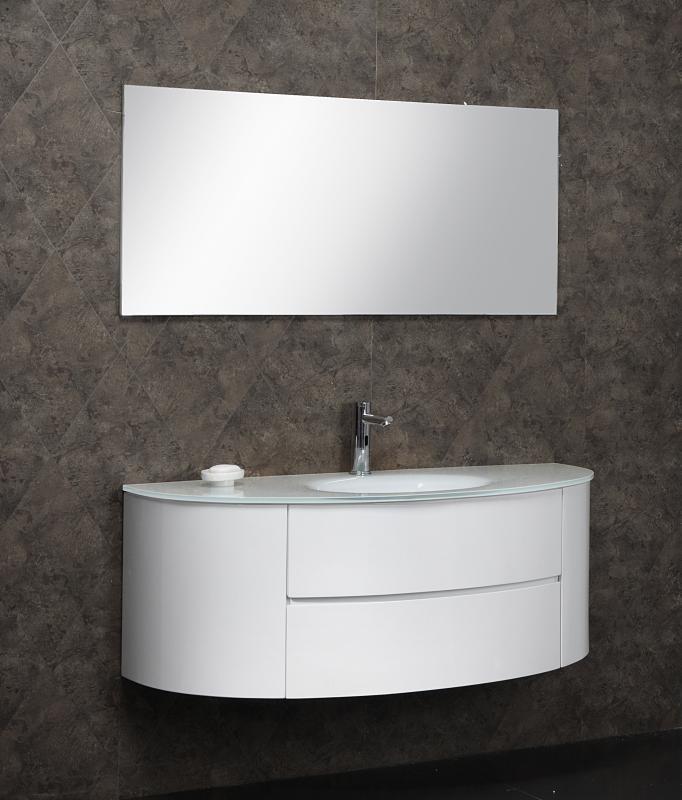 Mobile bagno per arredo lavabo cristallo bianco o blu moderno ...