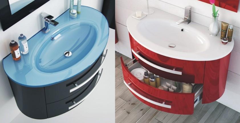 Colori Mobili Da Bagno : Mobile lavabo sospeso arredo bagno moderno con cassettoni e