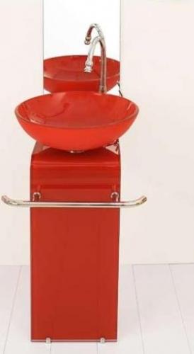 Mobile da bagno per arredo specchio lavabo cristallo in 7 colori ...