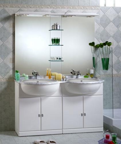 Specchio Bagno Bianco.Mobili Mobile Arredo Da Bagno Bianco Laccato Base Lavabo Specchio