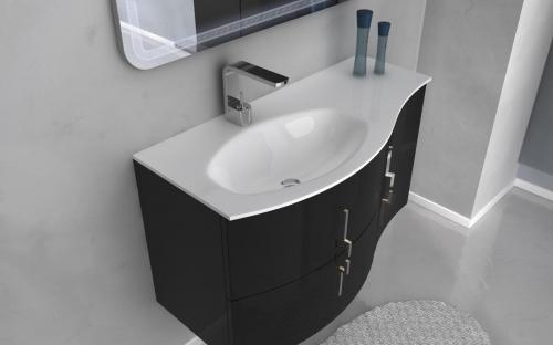 Mobile bagno cm in colori per arredo moderno sospeso curvo