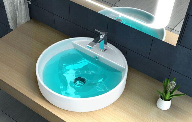 Lavabo da appoggio semincasso in ceramica bianca in varie - Piane del bagno ...