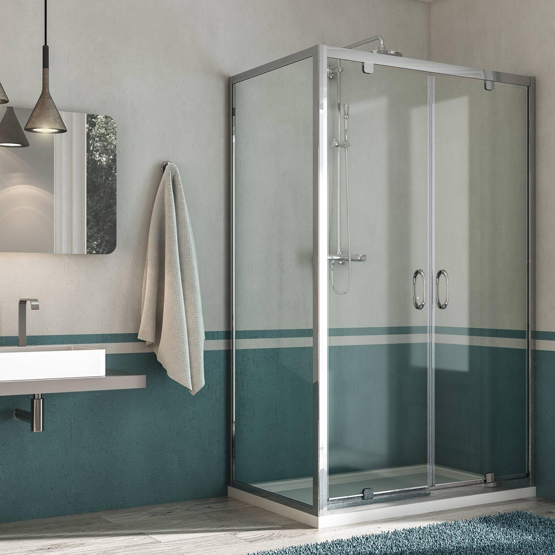 Box doccia doppia anta a saloon profilo alluminio H185 198 cristallo ...