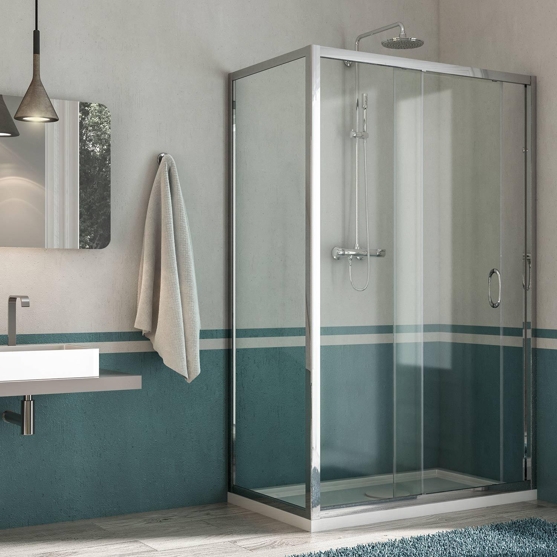 Box doccia porta fissa anta scorrevole h185 198 profilo in - Porta scorrevole bagno ...
