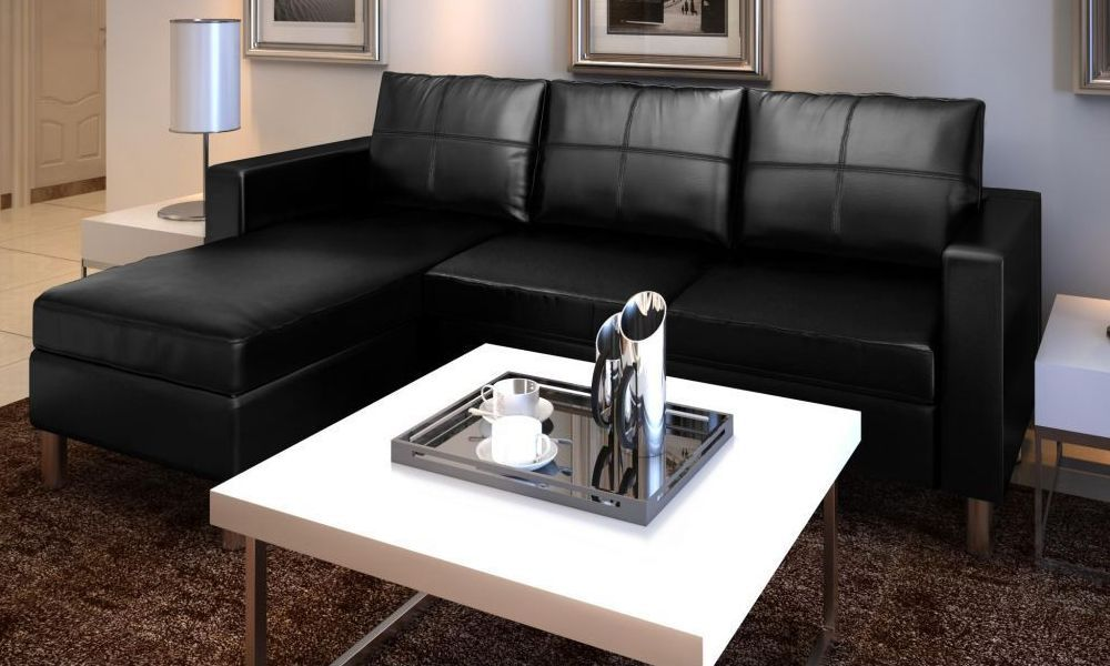 Divano angolare roma con pouf 205 cm ecopelle bianco nero - Altezza quadri sopra divano ...