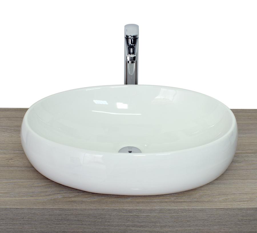 Lavabo da appoggio ovale arrotondato triangolare in ceramica bianco ...