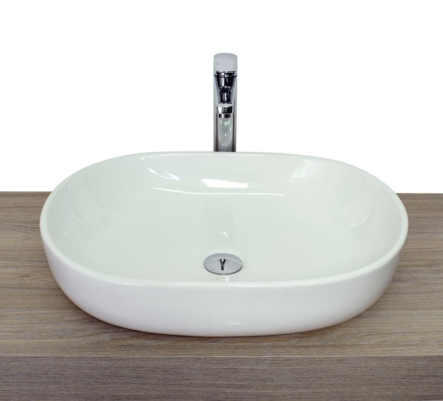 Lavabi da appoggio misure 59x42x14 5 ceramica bianco for Lavabo da appoggio misure