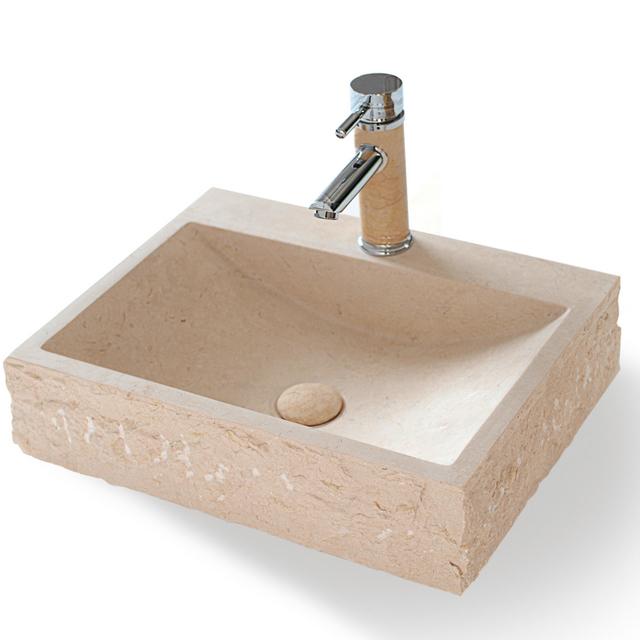 Lavabo da appoggio serie squadrata in marmo effetto pietra for Lavabo da appoggio misure