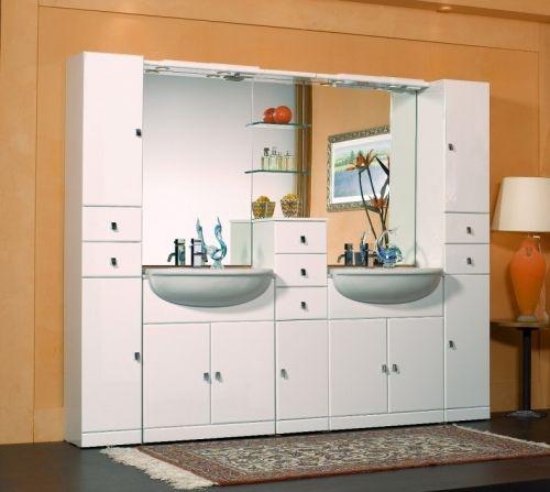 Mobile bagno doppio lavabo cleo modello componibile bianco - Lavabo bagno senza mobile ...