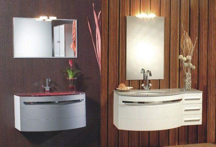 mobile bagno onda arredo componibile con lavabo in cristallo ... - Arredo Bagno Moderno Sospeso