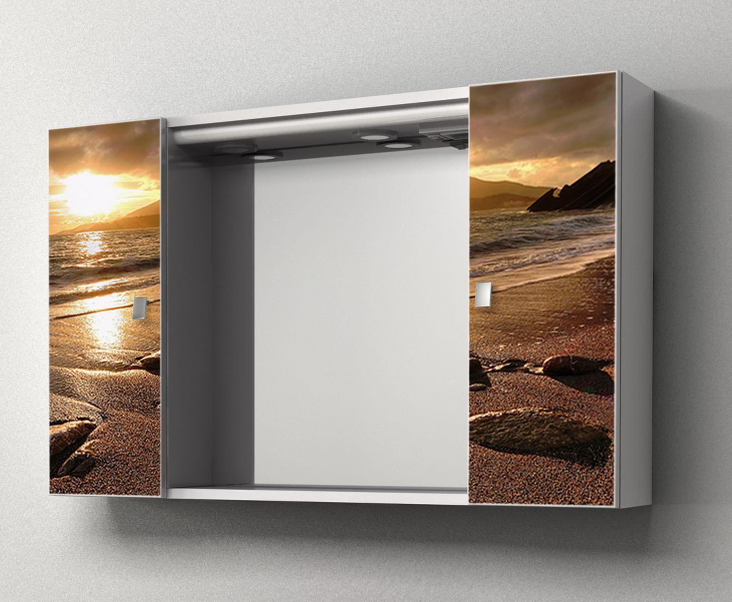 Specchiera contenitore da bagno yellow 94x60hx17 cm specchio centrale ante con stampa - La stampa specchio ...