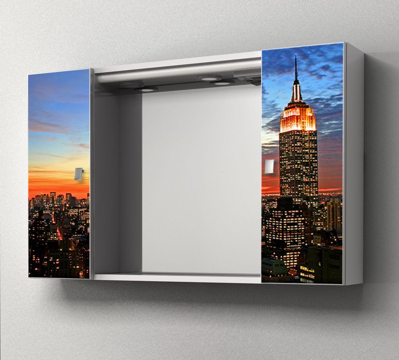 Specchiera contenitore da bagno yellow 94x60hx17 cm specchio centrale ante con stampa - Lo specchio retrovisore centrale ...