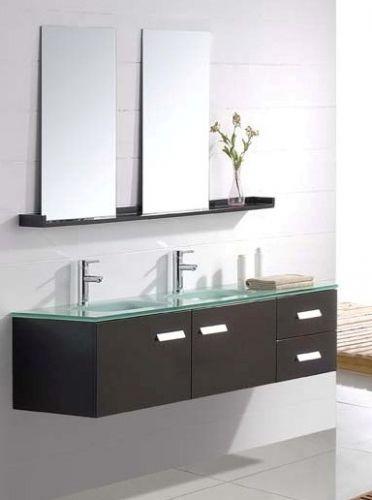 Z mobile arredo bagno venus con doppio lavabo in cristallo - Mobili in cristallo ...