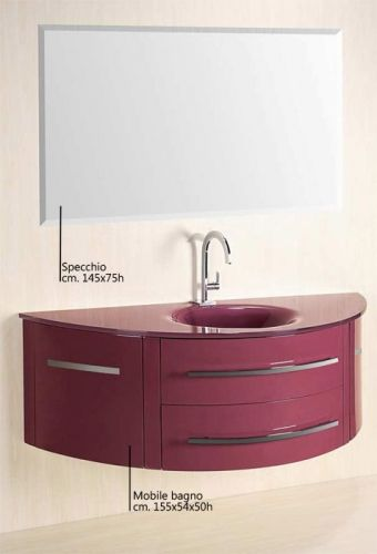 Mobile bagno beta con lavabo in cristallo colorato bz - Mobile bagno viola ...