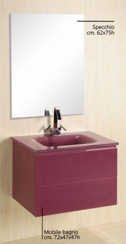 Arredo bagno virgo lavabo in cristallo dimensioni 72 tre - Mobile bagno viola ...