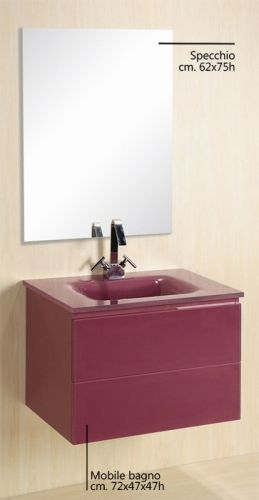 arredo bagno virgo, lavabo in cristallo dimensioni 72 tre colori bz - Arredo Bagno Usato