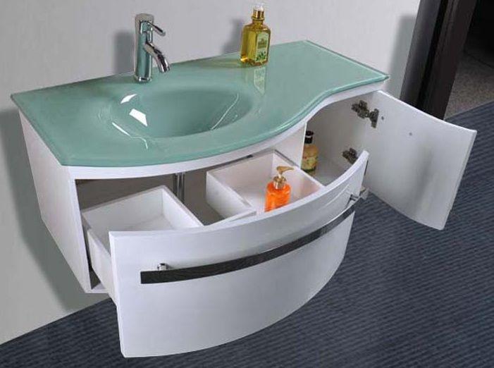 Mobile moderno da bagno taunus con lavabo in cristallo pd for Offerta mobili bagno