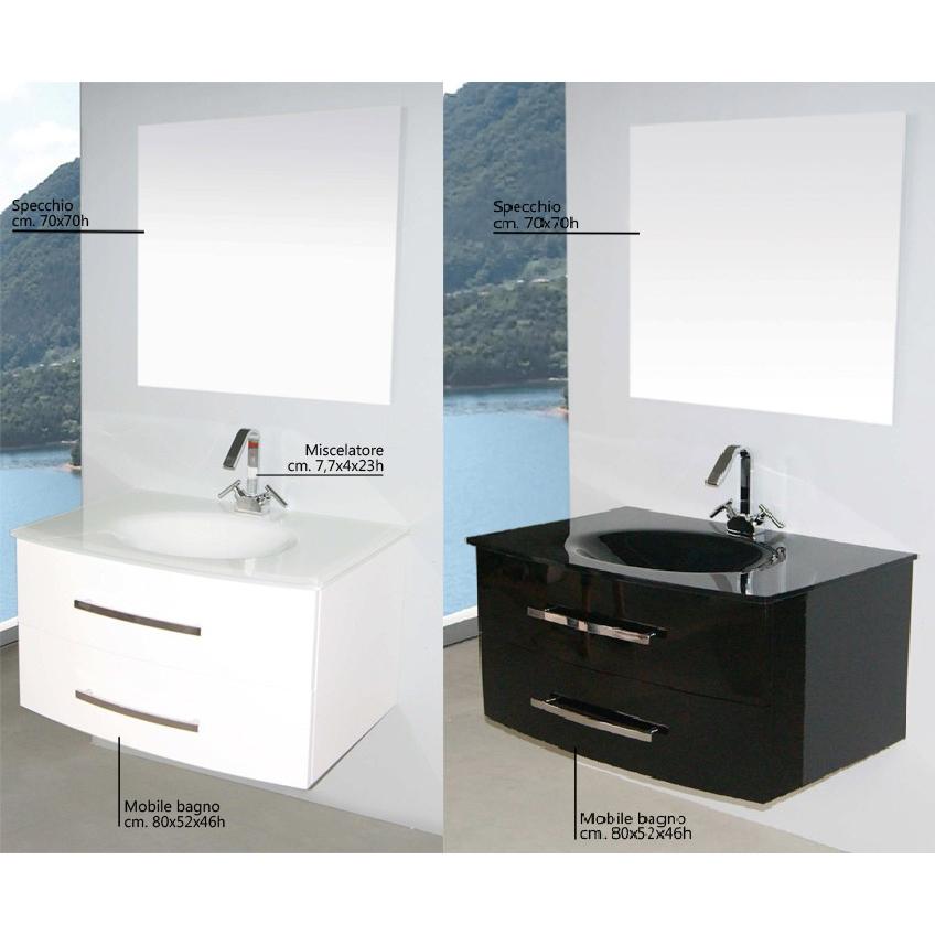 Arredo Bagno Brandy da 80 o 100 cm lavabo in cristallo nero bianco ...