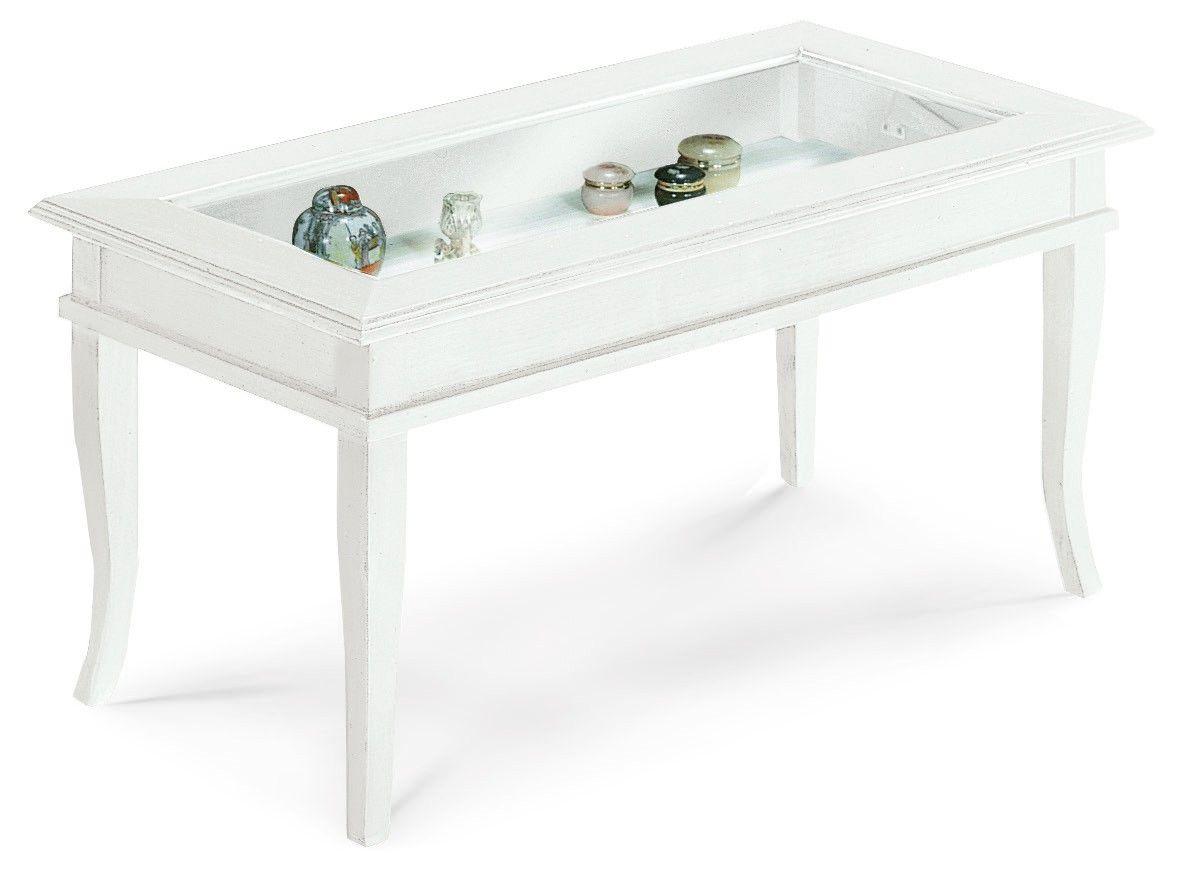 Mobile alice tavolino bacheca piano vetro colore bianco for Consolle da salotto