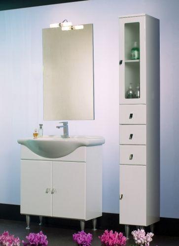 Mobile bagno cleo bianco 65cm con lavabo in ceramica bh - Mobile bagno bianco lucido ...