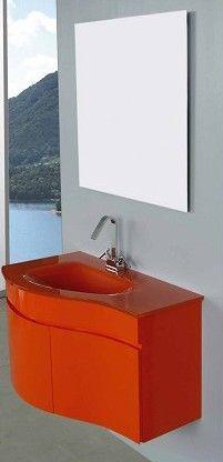 Arredo bagno asia completo di lavabo in cristallo bz for Arredo bagno rosso