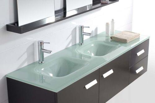 Z mobile arredo bagno venus con doppio lavabo in cristallo verde - Mobile bagno con doppio lavabo ...