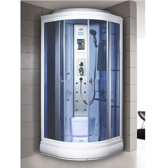 Box idromassaggio 90x90cm cabina cromoterapia e bagno turco vi - Doccia senza piatto doccia ...
