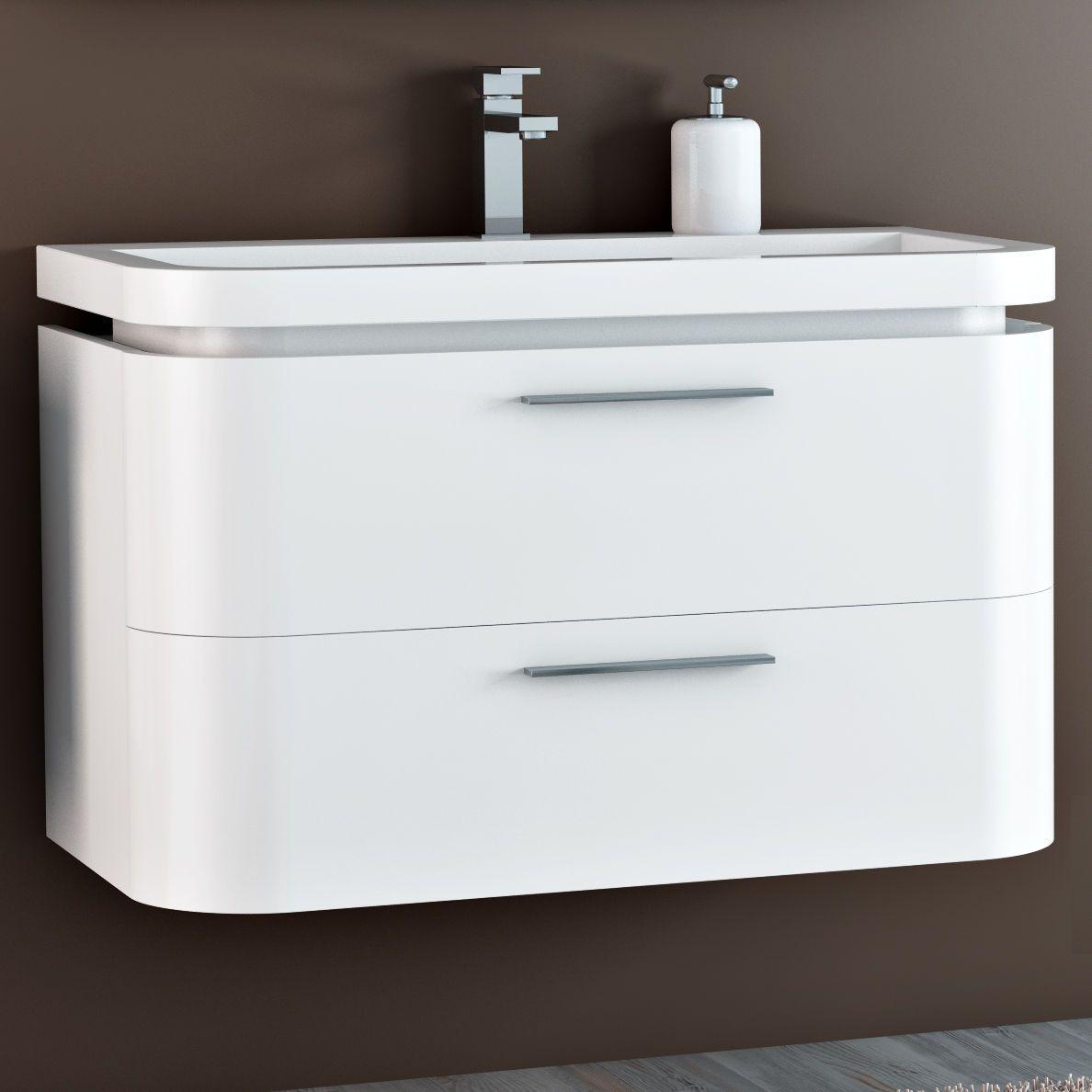 Mobile da bagno moderno saturno con 2 cassetti pa for Mobile bagno 2 lavabi