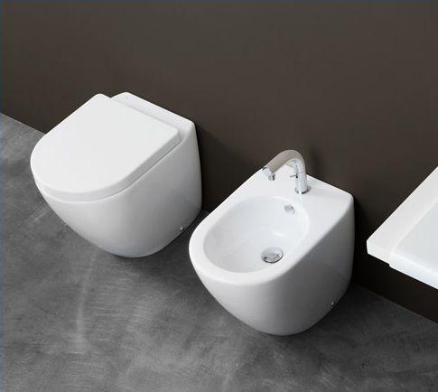 Bidet e vaso wc sanitari a terra ceramica althea filo parete for Sanitari filo parete