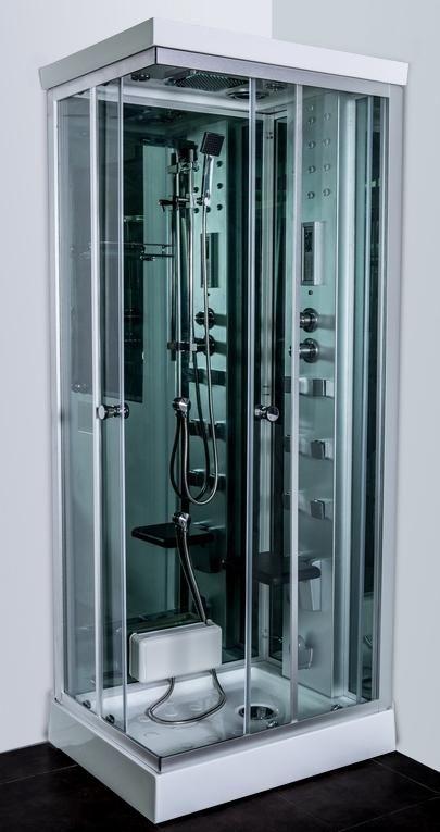 Cabina idromassaggio full optional 70x90 con generatore di vapore radio fm e soffione centrale - Cabina doccia sauna ...