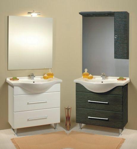 Mobile bagno leo bianco o wenge 39 scuro lavabo in ceramica bh - Lavandini con mobiletto ...