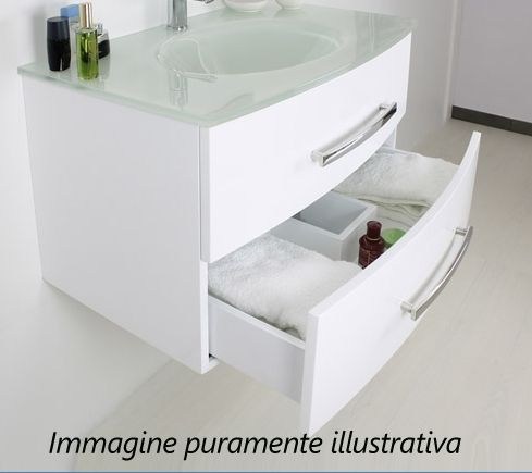 Arredo bagno brandy 80 lavabo in cristallo nero bianco - Lavabo nero bagno ...