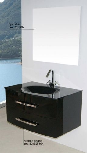 arredo bagno brandy 80 lavabo in cristallo nero tortora bz - Bagni Moderni Neri