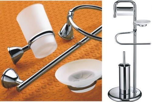 Kit 8 pezzi accessori cromati per bagno for Accessori bagno cromati