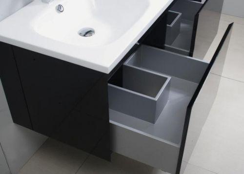 Arredo bagno zeus 120 nero lucido con specchio contenitore pd