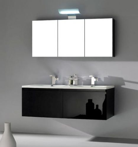Arredo bagno zeus 120 nero lucido con specchio contenitore pd - Mobile bagno doppio lavabo 140 ...