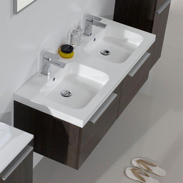 Arredo bagno mobile moderno doppio lavabo pa - Bagno doppio lavandino ...
