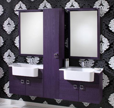 arredo bagno florens 10030 in bianco viola grigio larice