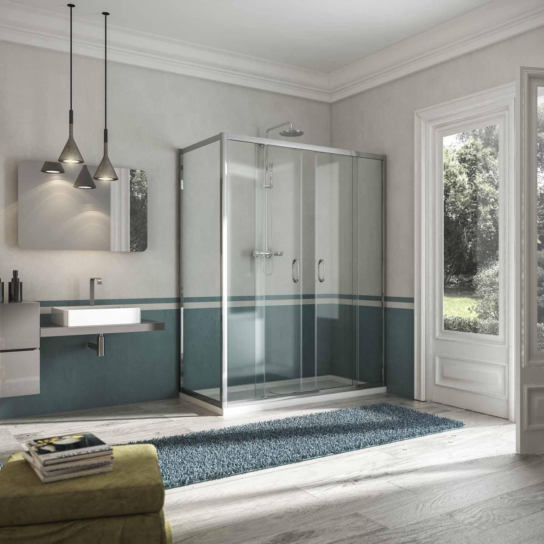 Box doccia anta fissa doppia porta scorrevole altezza 185 198 cm cristallo tr...