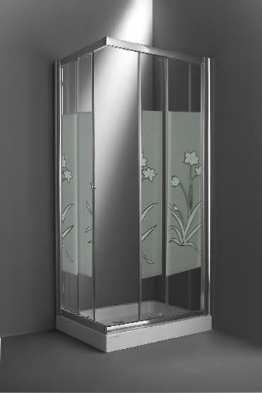 Box doccia angolare con piatto doccia e vetro serigrafato - Vetri per doccia ...