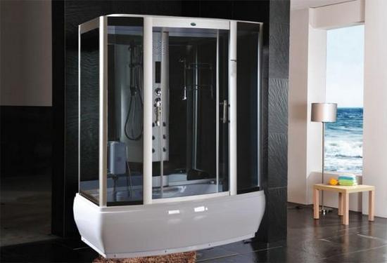 Altezza Vasca Da Terra : Cabina box doccia idromassaggio con vasca sauna luci led