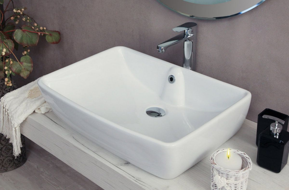 Lavabo Da Appoggio Rettangolare Quadrato Rotondo Ovale In Ceramica Bianco  Modello Lav02