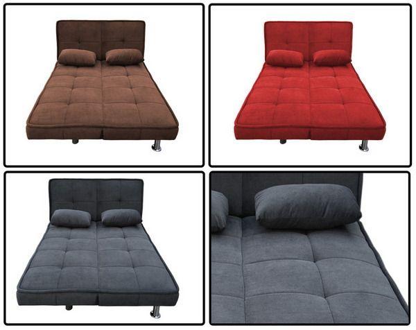 Divano letto maya 187x116x43 nei colori marrone grigio e rosso for Letto con testata reclinabile