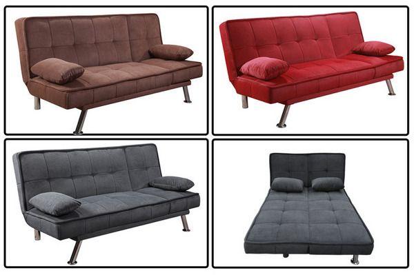 Divano letto Maya 187x116x43 nei colori marrone grigio e rosso