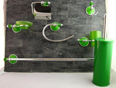 Accessori da bagno kit da 7 pezzi in metallo - Accessori bagno verde ...