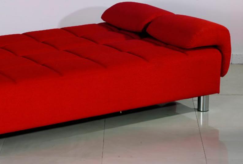 Divano letto Angelica 200x99 bianco rosso con braccioli reclinabile