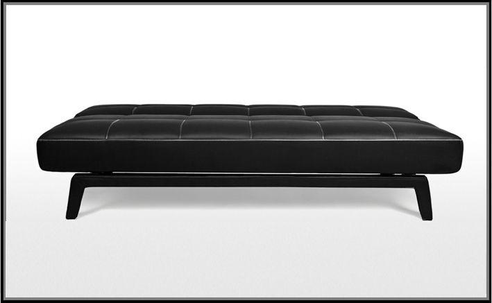 Divano letto moderno erica180x80 bianco nero ecopelle for Divano senza schienale