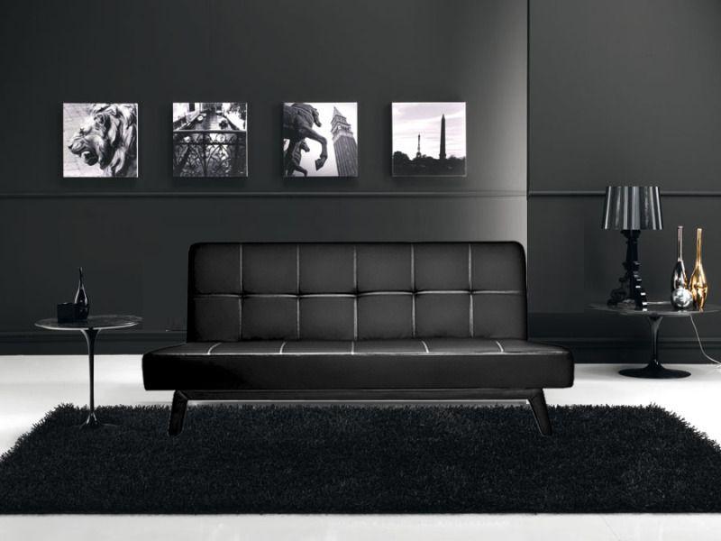 Divano letto moderno erica180x80 bianco nero ecopelle - Divano in pelle o ecopelle ...