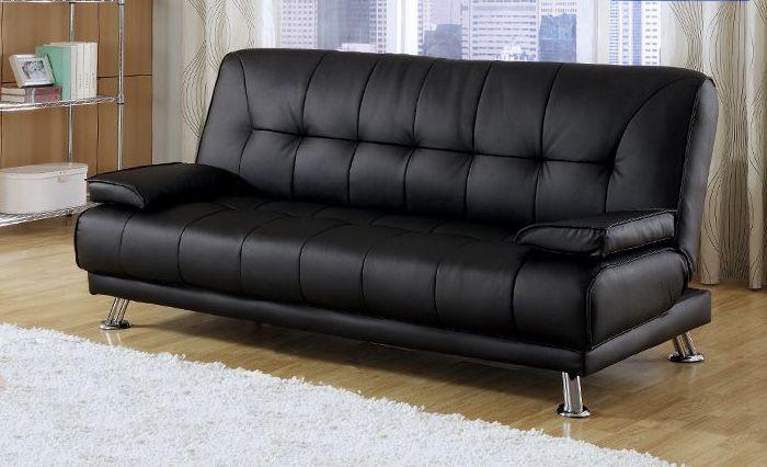 Divano letto Francesca 187x88 3 posti cuscini bianco nero piedini